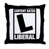 Content Rated Liberal Throw Pillow