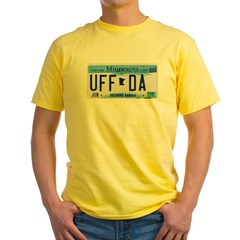 Uffda License Plate Shop Yellow T-Shirt