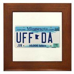 Uffda License Plate Shop Framed Tile