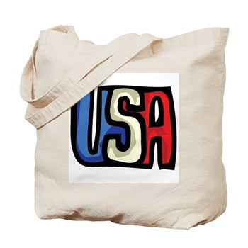 Red, White and Blue USA Tote Bag