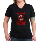 No More Offshore Drilling Women's V-Neck Dark T-Sh