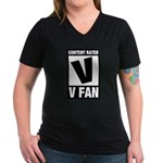 Content Rated V: V Fan Women's V-Neck Dark T-Shirt