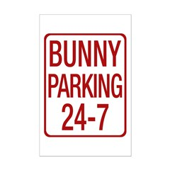 Bunny Parking Mini Poster Print