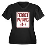 Ferret Parking Women's Plus Size V-Neck Dark T-Shirt