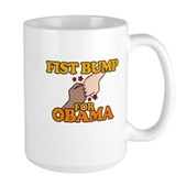 Fist Bump for Obama Large Mug