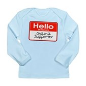 Obama Supporter Name Tag Long Sleeve Infant T-Shir