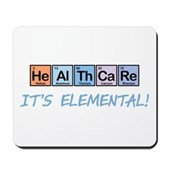 This design is the word Healthcare written out using elements from the periodic table on colorful squares. Underneath in whimsical text it reads It's Elemental! Support health care reform in style.