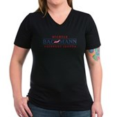 Anti-Bachmann Irony Women's V-Neck Dark T-Shirt
