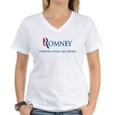 Anti-Romney Corporations Women's V-Neck T-Shirt