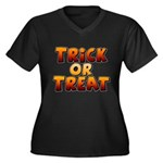 Trick or Treat Women's Plus Size V-Neck Dark T-Shirt