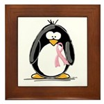 Breast Cancer penguin Framed Tile