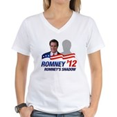 Anti-Romney Shadow Women's V-Neck T-Shirt