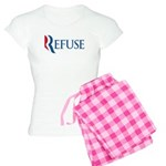 This anti-Romney design is a spoof of the Mitt Romney 2012 campaign logo. Instead of the candidate's name, we have the word REFUSE. This November, voters need to REFUSE the Romney candidacy.