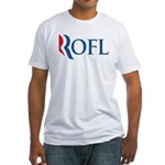 This anti-Romney design is a spoof of the Mitt Romney 2012 campaign logo. Instead of the candidate's name, we have the internet abbreviation ROFL. Which is what I do when I imagine President Mittens.