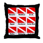 Dive Flags of the World Throw Pillow