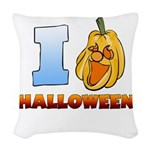 I Love Halloween Woven Throw Pillow
