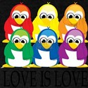 Love-Is-Love-Penguins-Stacked Dark T-Shirt