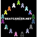 Black BEATCANCER.NET Logo White T-Shirt