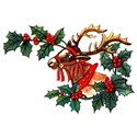 Vintage Christmas Reindeer And Holly T-Shirt
