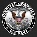 USN Hospital Corpsman Eagle H Women's V-Neck Dark