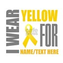 Yellow Awareness Ribbon Customized White T-Shirt