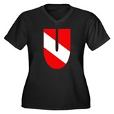 Scuba Flag Letter U Women's Plus Size V-Neck Dark