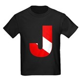 Scuba Flag Letter J Kids Dark T-Shirt