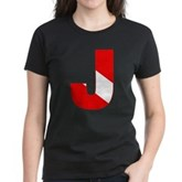 Scuba Flag Letter J Women's Dark T-Shirt