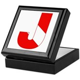 Scuba Flag Letter J Keepsake Box