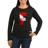 Scuba Flag Letter F Women's Long Sleeve Dark T-Shi