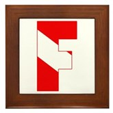 Scuba Flag Letter F Framed Tile