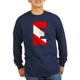 Scuba Flag Letter E Long Sleeve Dark T-Shirt