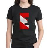 Scuba Flag Letter E Women's Dark T-Shirt