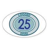 25 Logged Dives Oval Sticker