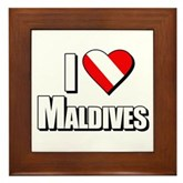 Scuba: I Love Maldives Framed Tile