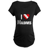 Scuba: I Love Maldives Maternity Dark T-Shirt