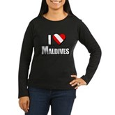 Scuba: I Love Maldives Women's Long Sleeve Dark T-