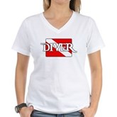 Pirate-style Diver Flag Women's V-Neck T-Shirt